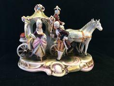 Antique German GDR porcelain. Colorful carriage . Marked. #dresden #GDR