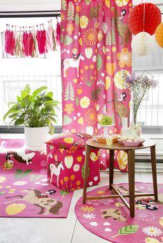 Vallila & Mimmit collection: Kevätlaulu, pink curtain, cushion and rug. Design Meri Mort & Vallila Design Studio