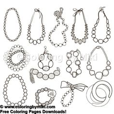 Jewelry Earrings Coloring Page #1023   塗り絵 無料、コロリアージュ、ジュエリー