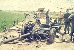 Shit happens. Broken artillery piece, Towing truck turned over,1969