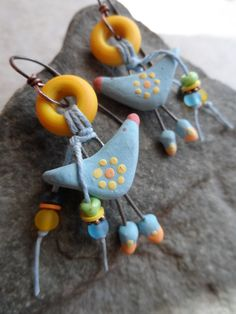 Bird Whimsy ... Ceramic, Lampwork and Copper Wire-Wrapped Whimsical, Boho, Woodland Earrings
