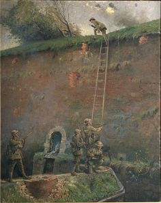 "George Edmund Butler's oil painting ""The scaling of the walls of Le Quesnoy"". The New Zealand troops' last major action of the First World War was the capture of Le Quesnoy in November 1918, a week before the armistice. They scaled ladders set against the ancient walls of the old fortress town."