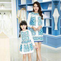 New chinese style Mother Daughter Matching Dresses Sets spring Family Fashion Sleeve Outfits + shirts Mom Girl Clothing Sets