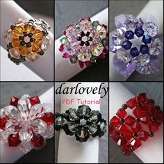 Flower Ring Series The 6 Ring Tutorials are 1. Topaz Flower Ring 2. Pink Crystal Flower Ring 3. Purple Double Layer Petal Flower Ring 4. Big Red Crystal Flower Ring 5. Black Flower Ring 6. Red Flower Cuff Ring Individually each tutorial cost between $4.00 - $6.00. These Rings are made using Swarovski bicone, Swarovski pearl and seed beads, which are easily available. Total Number of pages 58   Skill Level: Beginner/Intermediate This tutorial includes details, easy step by step instructions…