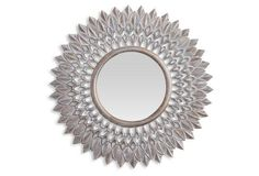 Lawson Sunburst Wall Mirror, Whitewashed