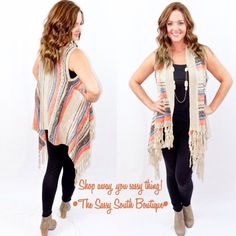 Striped Fringe Vest   The Sassy South Boutique  Shop Away, You Sassy Thing!  Shop The Sassy South Boutique Showroom Located Inside Mint Julep Market: 7540 B South Memorial Parkway Huntsville, Al 35802. Also, shop with us online at: http://thesassysouth.com/shop/   www.TheSassySouth.com