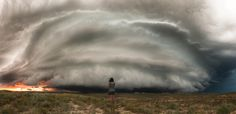 Beauty and the beast A man has photographed a stunning set of images of beauty and the beast - as his wife poses in front of epic storms.