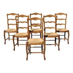 47b64b9c8d0 1910s Vintage French Country Rush Seat Solid Walnut Dining Chairs-Set of 6