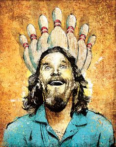 The Dude's Enlightenment is a signed and dated reproduction of original mixed media artwork by Jeff Mitchell on a heavyweight satin paper.