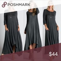 🇺🇸Loose Fit LONG SLEEVE Maxi Dress charcoal LONG SLEEVES as pictured in CENTER IMAGE of COVERSHOT. Loose fit maxi dress. Long sleeves. Scoop neck. Slight shark bite front hemline. 95% rayon, 5% spandex. Front center seam. Made in U.S.A.. Brand new boutique retail w/o tag. No trades, no off App transactions or negotiations.   Touch Buy Now and you will be prompted to select size.   ⚠️No tag size XL but SIZE LARGE WILL FIT XL    ❗️PRICE IS FIRM UNLESS BUNDLED❗️ Leoninus Dresses Maxi