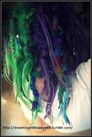 """purple and green hair"""