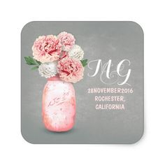 Pink flowers painted mason jar wedding stickers