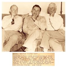 "Ty Cobb, Babe Ruth & Tris Speaker Reflect On Old Times 73 Years Ago Today - Cleveland - July 26, 1941  ~ ""ACME Wire: Baseball Immortals Together Again - Three famous baseball players of bygone years met here for the first time since 1928 and the second time in baseball history. Shown above talking over old times at a local hotel, they are left to right Ty Cobb, with Detroit in 1912; Babe Ruth, Home Run King of the Yankees, and Tris Speaker of the Cleveland Indians."