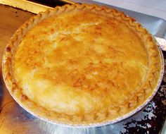 """FURR'S BUTTER CHESS PIE (1pie)... 2c sugar, 2Tbsp flour, 5 lrg eggs-lightly beat, 2/3c buttermilk, 1/2c butter/margarine-melt, 1tsp vanilla extract, unbaked 9""""pie shell... Combine sugar and flour in a large bowl; add eggs and buttermilk, stirring until blended. Stir in butter and vanilla extract, and pour into unbaked pastry shell. Bake at 350* 45mi or until set. Cool in a wire rack. After minimum baking time, check doneness, by gently shaking pie. Should be set w/slight jiggle."""