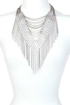 Bansri Rebecca Fringe Necklace Silver - $100