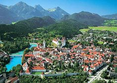 Füssen Germany -- such a beautiful small town to spend some time. And that turquoise river -- gorgeous! This town is the ending point of the Romantic Road Bike Route.