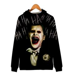 Unisex Hooded Suicide Squad Harley Quinn Joke Printed Realistic Pullover Athletic Hip-hop Sweatshirt with Big Pocket Joker Costume, Funny Design, Daily Wear, Harley Quinn, Squad, Hoods, Hip Hop, Athletic, Unisex