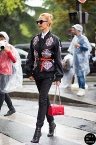 Elina+Halimi+wearing+KTZ+jacket,+Christian+Louboutin+boots+and+Valentino+bag+before+Dior+Homme+fashion+show.+Shop+this+look+(or+similar)+here:+Jacket:+Monki+Lightweight+Bomber+Jacket+//+NEIL+BARRETT+Ruffled+satin+bomber+jacket+Jeans:+Current/Elliott+The+High+Waist+Ankle+Skinny+Jean+//+Rag+