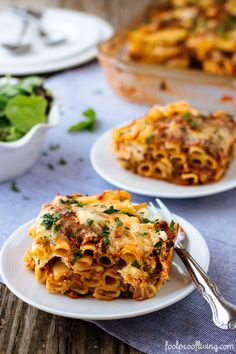 Baked Ziti with meat sauce, but can substitute with regular tomato sauce, if you prefer.