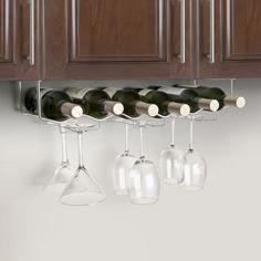 Under Cabinet 6 Wine Bottle U0026 6 Glass Rack   3 Channel   Stainless Steel