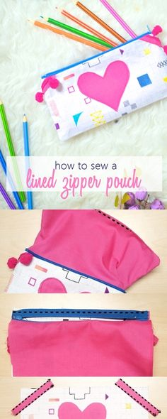 easy zippered pouch tutorial   easy sew zippered pouches   How to make lined zipper pouch   zippered pouch sewing tutorial  