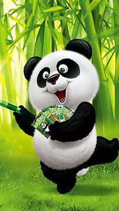 Such a cute panda Panda Wallpapers, Cute Cartoon Wallpapers, Halloween Illustration, Cute Illustration, Bolo Panda, Cute Panda Wallpaper, Panda Painting, Panda Drawing, Teddy Bear Cartoon