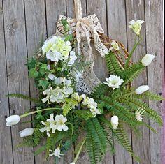 Spring Wreaths, Hydrangea Wreath Year Round for Front Door, Grapevine Wreath Floral, Flower Wreath, Rustic Shabby Chic Door Wreath Everyday : Spring Wreaths Hydrangea Wreath Year Round for Front Door Wreaths For Front Door, Door Wreaths, Grapevine Wreath, Green Hydrangea, Hydrangea Wreath, Summer Wreath, Spring Wreaths, French Cottage Decor, Cottage Chic