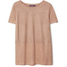Violeta BY MANGO Mixed Laser-Cut T-Shirt (80 AUD) ❤ liked on Polyvore featuring tops, t-shirts, shirts, tees, round top, beige shirt, laser cut t shirt, short sleeve t shirt and short sleeve shirts