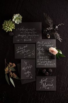 Laura Lavender Calligraphy - Hand Lettered Invitation Suite - weddings - White Calligraphy on Black via Etsy