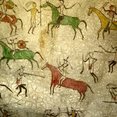 appears to be a Native American pictograph.needs researching Ancient Art, Ancient History, Art History, Native Art, Native American Art, Art Pariétal, Cave Drawings, Horse Drawings, Art Rupestre