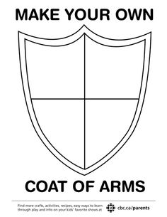 Kids can make their own coat of arms! Print a simple template and fill it with fun symbols.