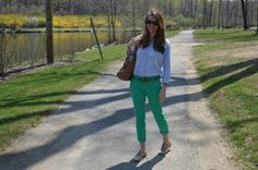 colored pant + chambray