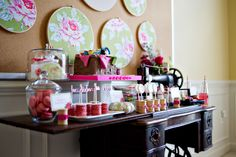 Sewing party...food and/or candy table. The table and sewing machine are both vintage.