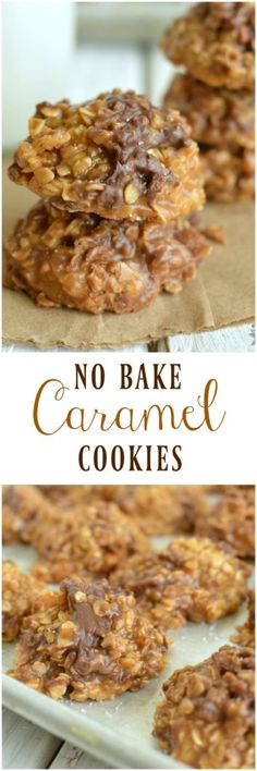 Cookies Smooth buttery caramel, crunchy toffee chips, and a chocolate chips come in a No Bake Caramel Cookie! What's not to love!Smooth buttery caramel, crunchy toffee chips, and a chocolate chips come in a No Bake Caramel Cookie! What's not to love! Baking Recipes, Cookie Recipes, Dessert Recipes, No Bake Cookie Recipe, Easter Recipes, Desserts Diy, Trifle Desserts, Easy No Bake Desserts, Pudding Desserts