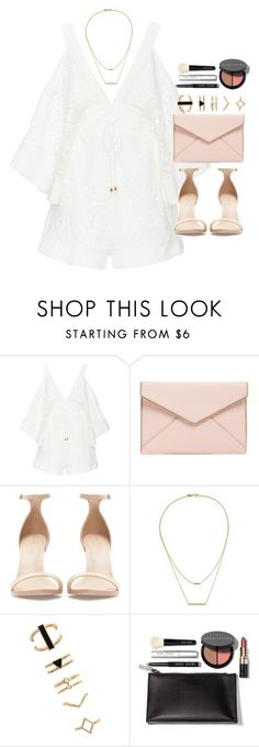 """""""Outfit for prom with a white playsuit"""" by ferned ❤ liked on Polyvore featuring Alice McCall, Rebecca Minkoff, Zara, Kacey K Fine Jewelry, Forever 21 and Bobbi Brown Cosmetics"""