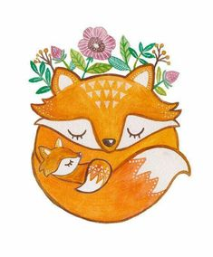 Mother and baby fox print by artandsoulcreativeco on etsy Fuchs Illustration, Art And Illustration, Illustrations, Art Fox, Art Mignon, Baby Drawing, Drawing Art, Drawing Ideas, Belly Painting