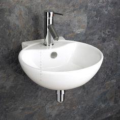 Udine Wall Mounted Ceramic Circular Modern Sink 40cm x 42.5cm - www.clickbasin.co.uk