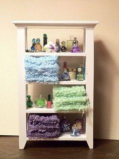 Dollhouse Miniature Shelves with Towels Perfume Bath Beads by Piera 1:12 Scale #PieraArt