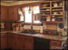 Primitive look, layout and decorating ideas for kitchen