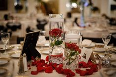 Love this idea for the reception tables. Single rose in a tall vase witha  floating votive candle on top.