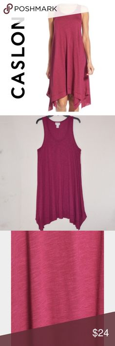 Caslon Handkerchief  Women's Hem Slub Tank Dress This is a Caslon Handkerchief  Women's Hem Slub Tank Dress. Size: LP. MSRP $49. NWT.  * by Caslon from Nordstrom  * A slub-knit tank dress in a supersoft blend of cotton and modal takes on breezy flare in an A-line silhouette that finishes with a tiered, raw-edge handkerchief hem.  * Slips on over head. * Scooped neck.  * Sleeveless.  * Unlined.  * Made of 60% cotton, 40% modal.  * Dry clean or hand wash cold, dry flat.  * Approx MEASUREMENTS…