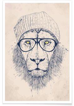 Cool lion en Affiche premium par Balázs Solti | JUNIQE