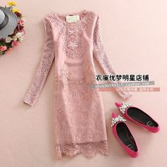 Autumn winter dress fashion Long Sleeve Lace Patchwork Women Dresses Slim Embroidery Hollow Out Dresses Plus size