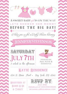 Baby Shower Invitation  Clothing Line for girl  by BellePrintables, $12.50