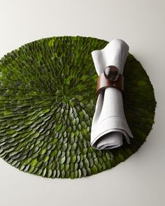 Boxwood Placemats made from preserved boxwood. Available at Horchow 2014