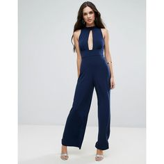 Love Plunge Cut Out Jumpsuit ($38) ❤ liked on Polyvore featuring jumpsuits, navy, jump suit, plunge wide leg jumpsuit, tall jumpsuit, wide leg chiffon jumpsuits and navy jumpsuit