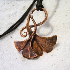 Ginkgo Leaves Pendant, Copper Ginkgo Leaves, Upcycled