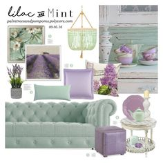 """""""Color Challenge: Lilac & Mint"""" by palmtreesandpompoms ❤ liked on Polyvore featuring interior, interiors, interior design, home, home decor, interior decorating, Ro Sham Beaux, Joybird Furniture, Lenox and Molton Brown"""