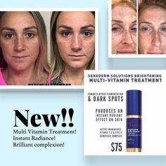 Senegence's NEW Multi Vitamin Brightening Treatment! To order on Fb: Hillary's Beauty Bar Senegence Products, Senegence Makeup, Even Skin Tone, Skin Elasticity, Beauty Bar, Active Ingredient, Lip Colors, Vitamins, Multi Vitamin