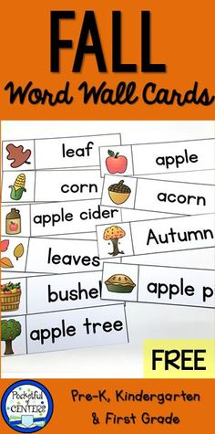30 spring word wall words free printable wall words matching printable fall themed word cards for word wall or pocket chart for prek and kindergarten writing sciox Gallery